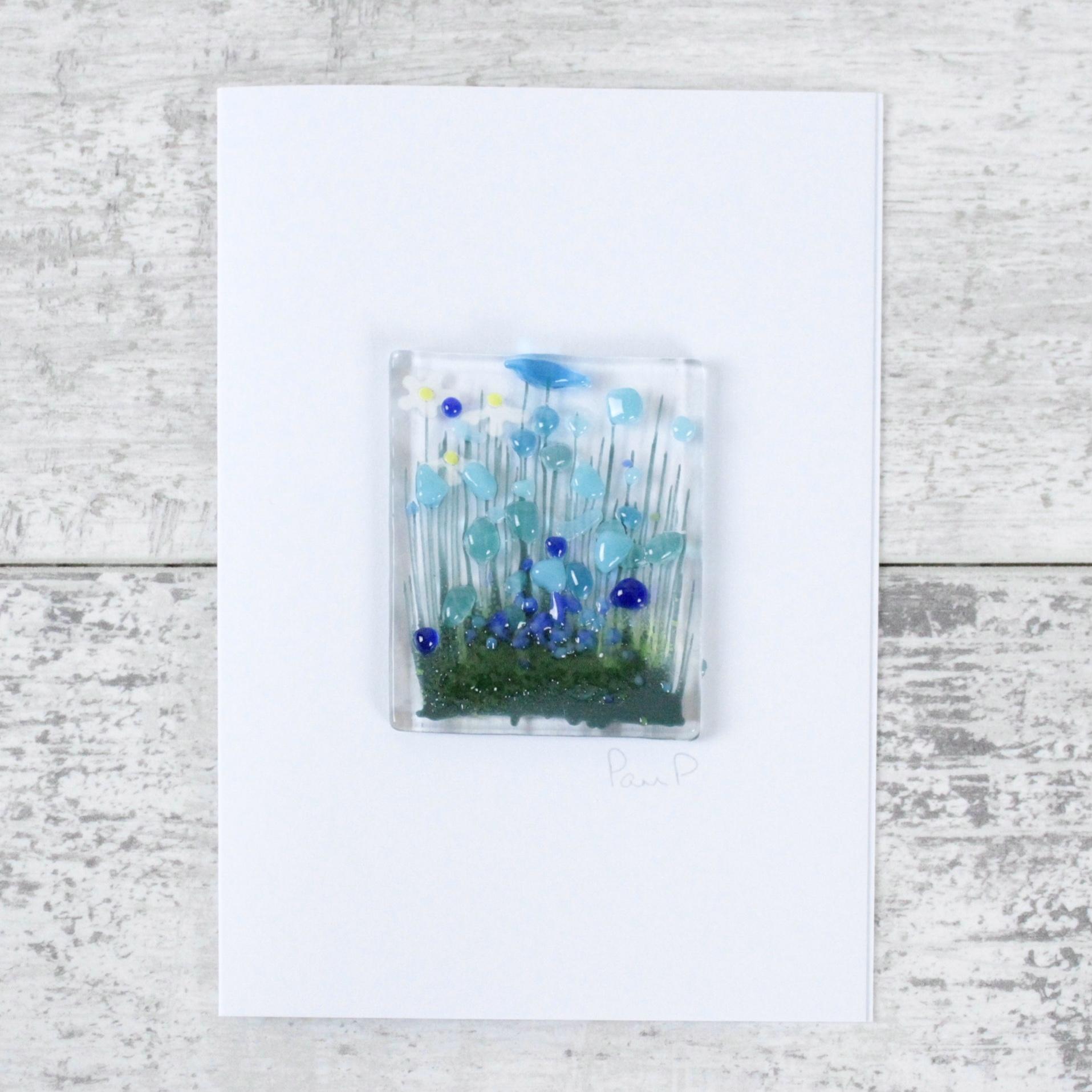 Cornflowers - Fused Glass Card