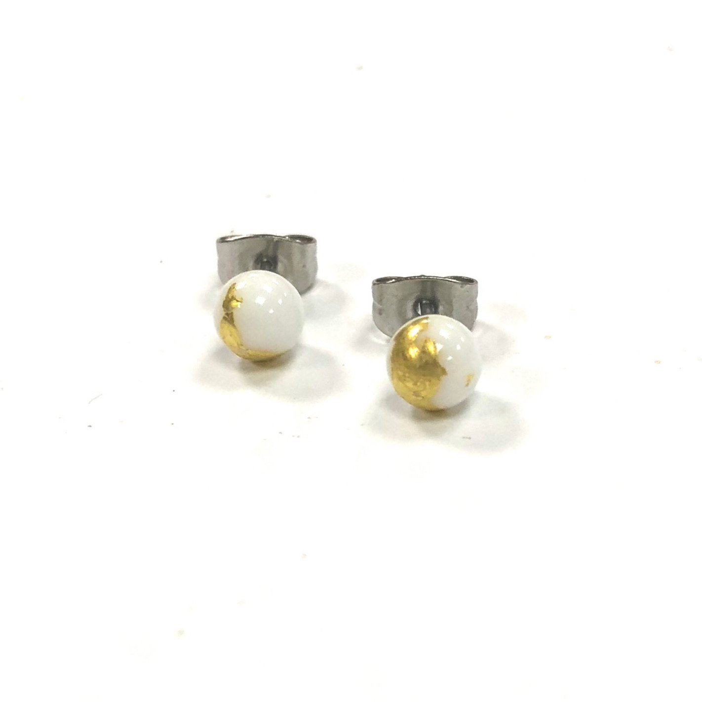 White Glass Studs with Gold Leaf