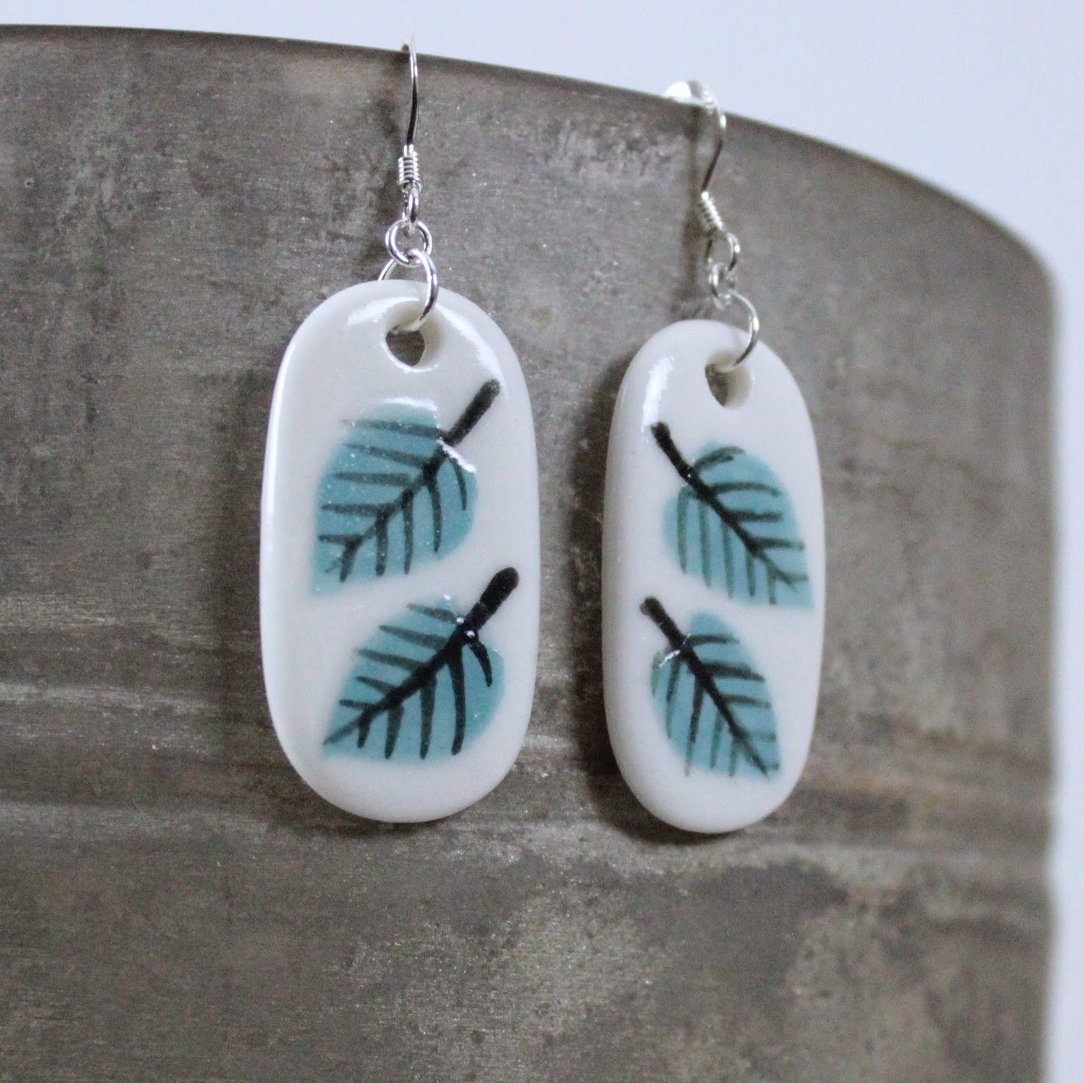 Leaves Porcelain Drop Earrings