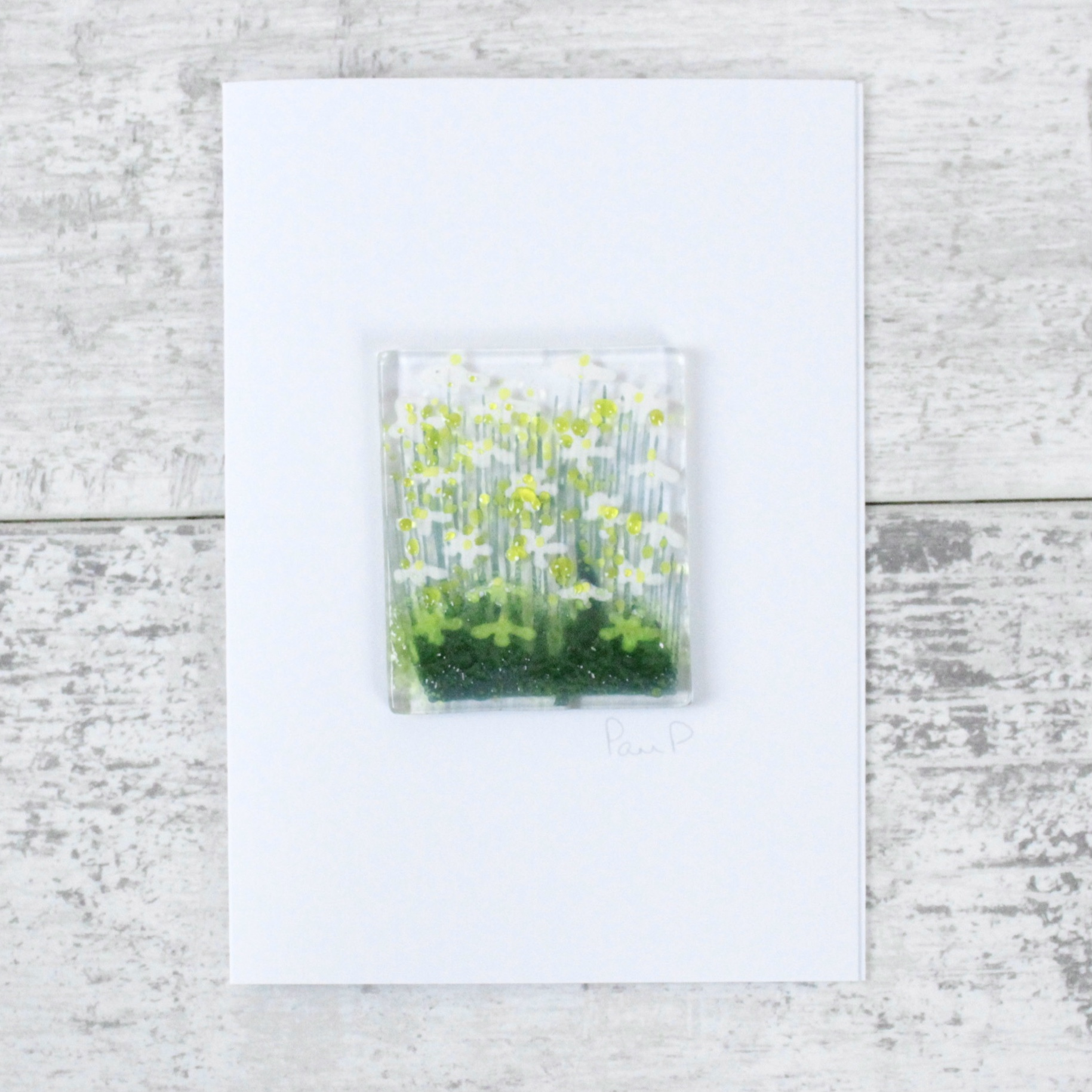 Daisies - Fused Glass Card