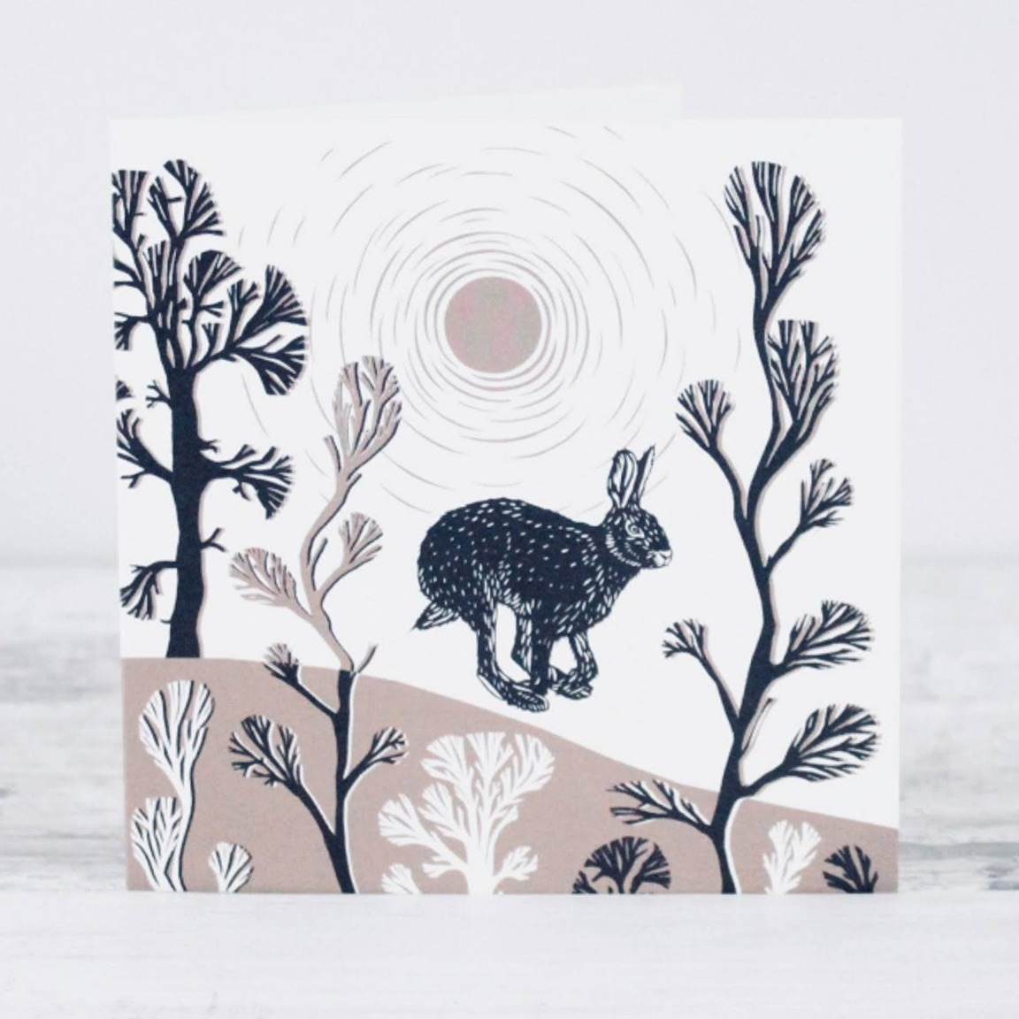 Leaping Hare Card by Folded Forest