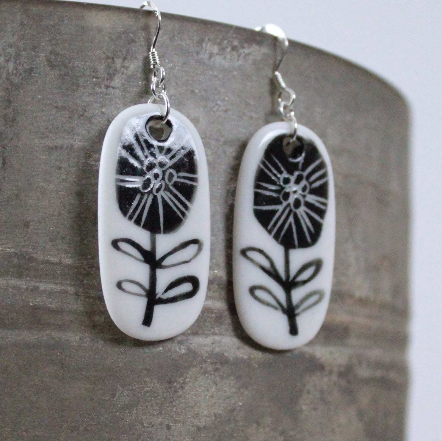 Monochrome Flower Porcelain Drop Earrings