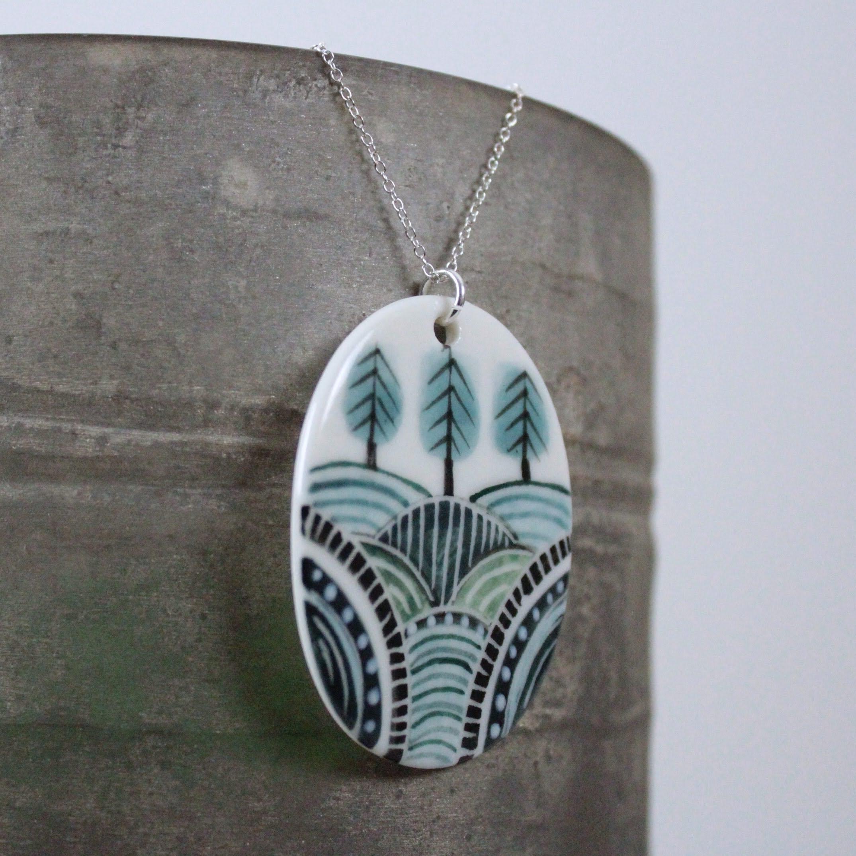 Hillside Woodland Porcelain Pendant