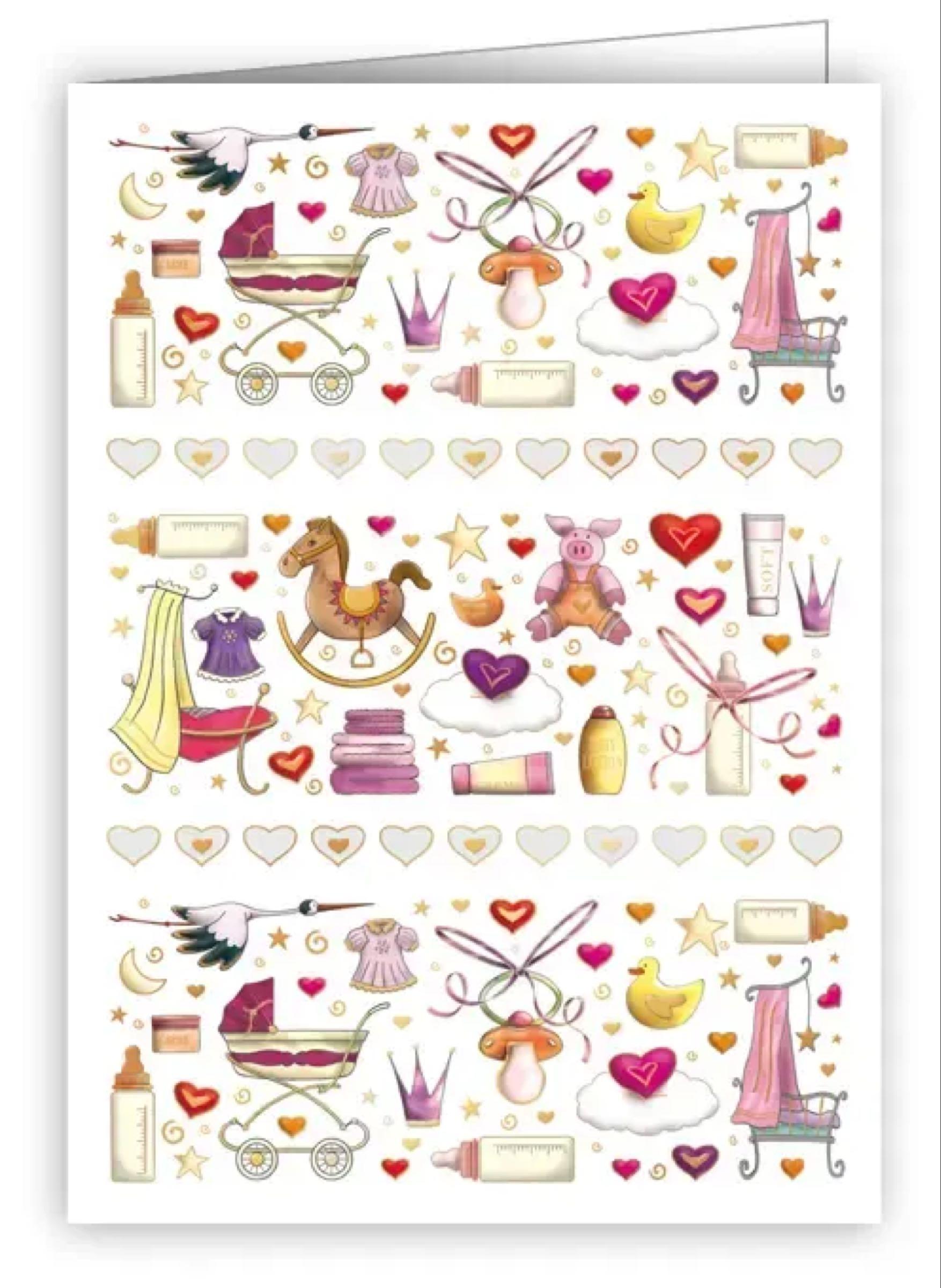 Baby Girl Icons & Hearts mini greetings card. New baby