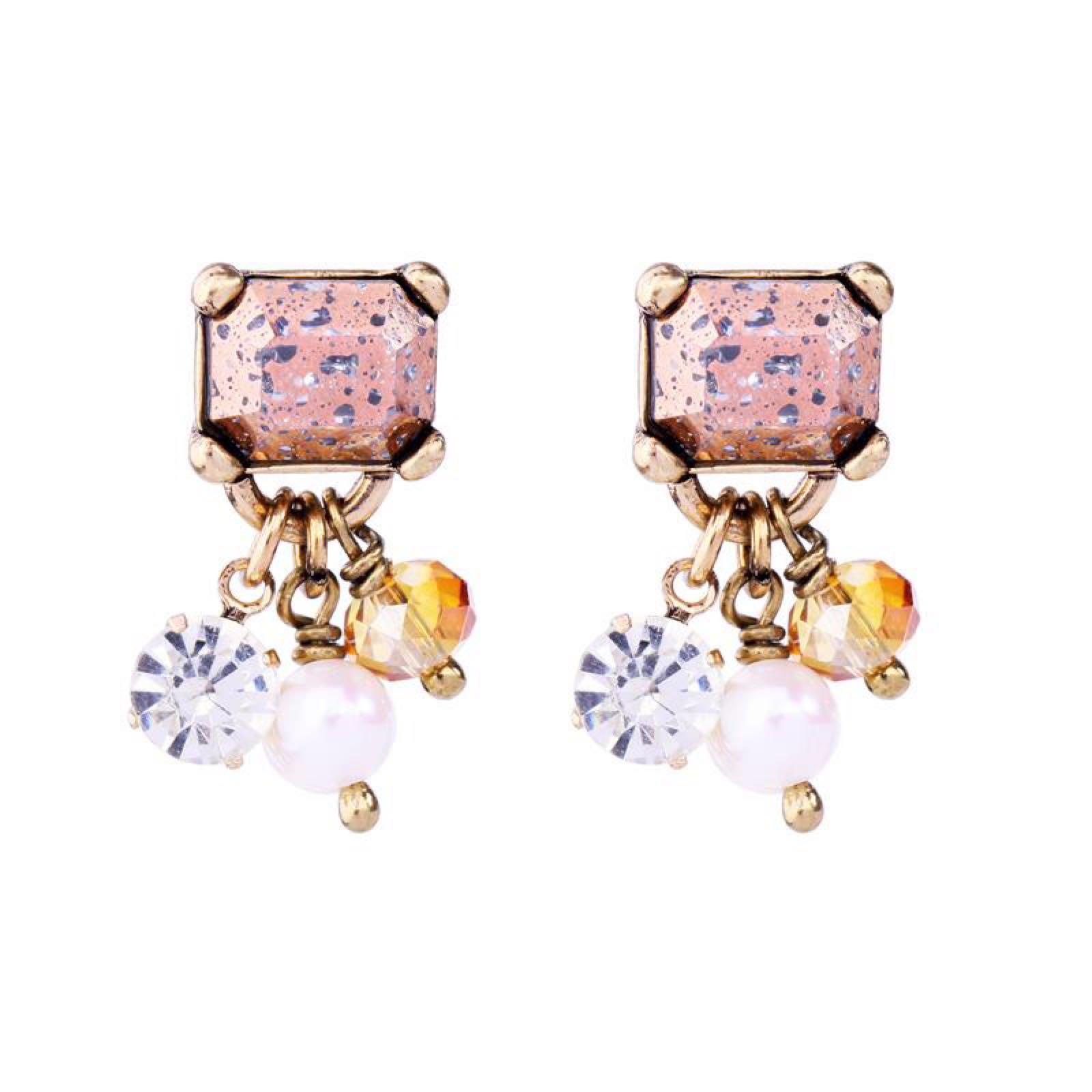 Last true angel vintage gem with cultured pearl cluster earrings