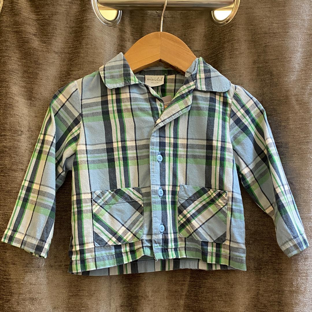 Boden Blue and Green Shirt/Jacket - Size 6-9 months