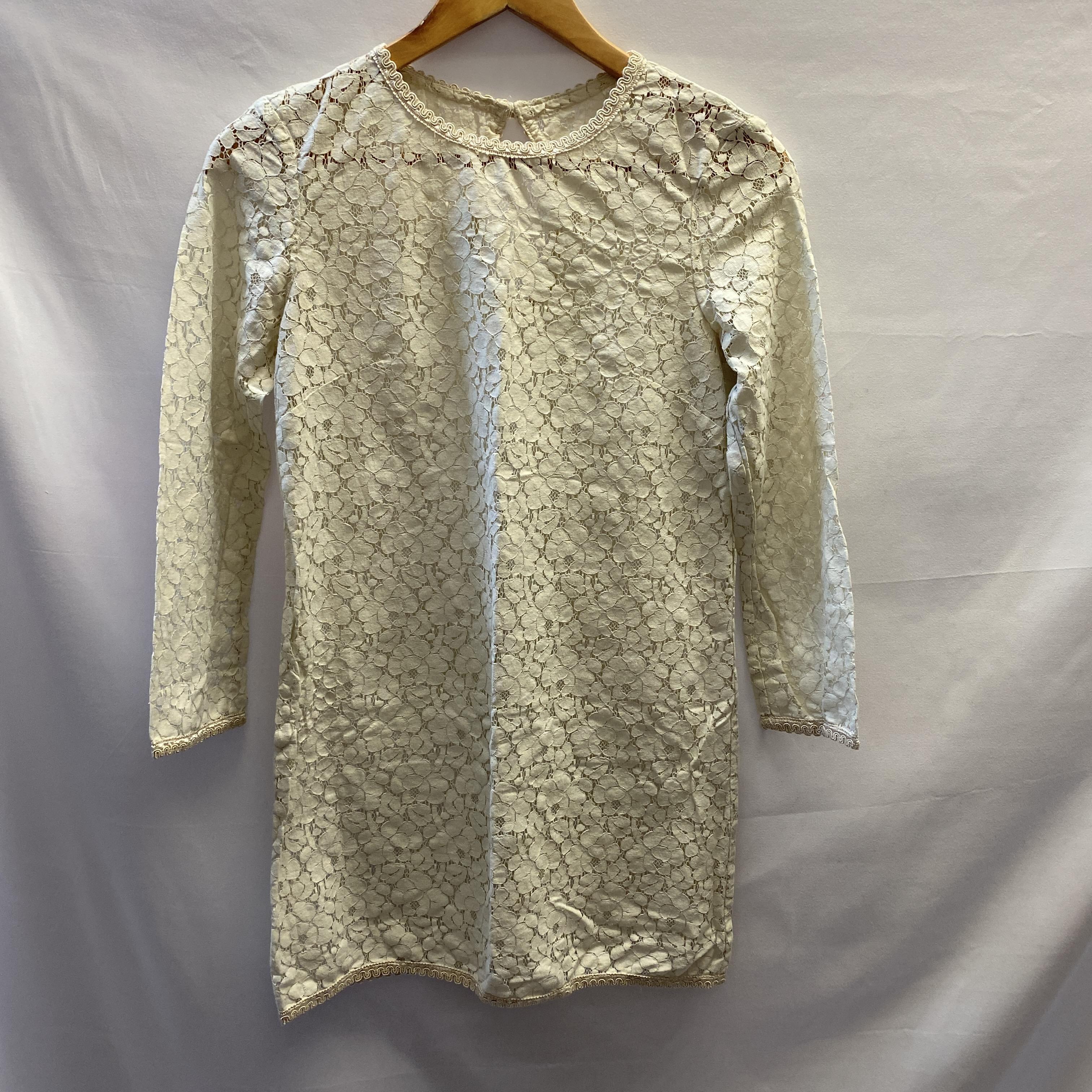 Cream Lace Tunic Dress - Size Small