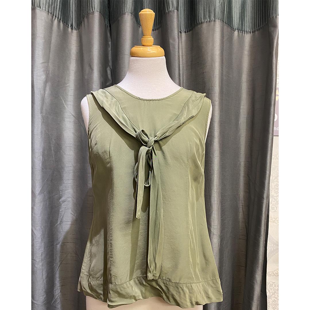 Green Jigsaw Sleeveless Top - Size 8