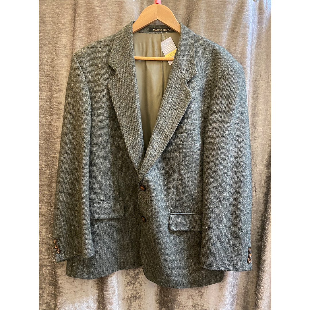 Marks and Spencer Green Tweed Jacket - Size Small