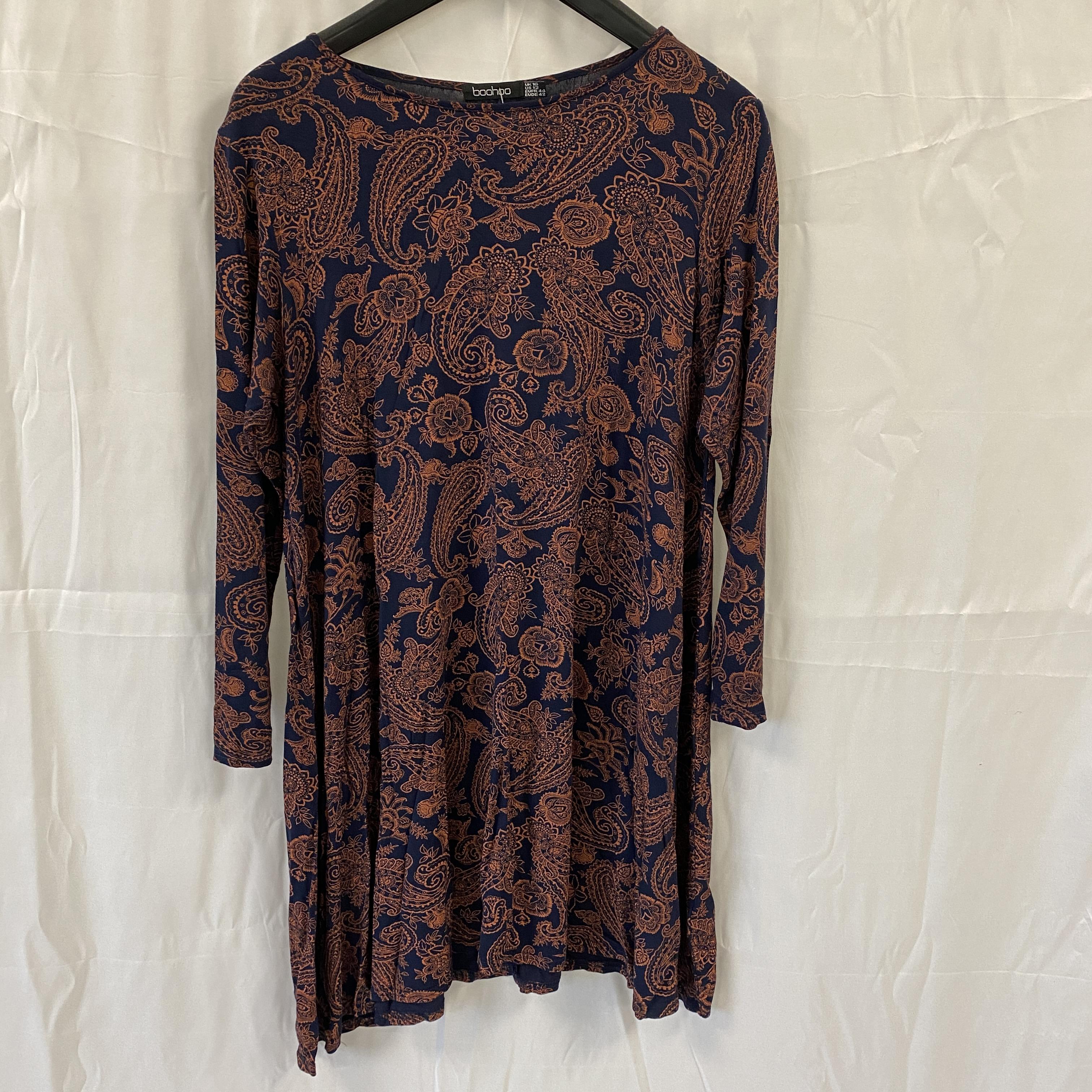 Boohoo Navy & Bronze Dress - Size 16