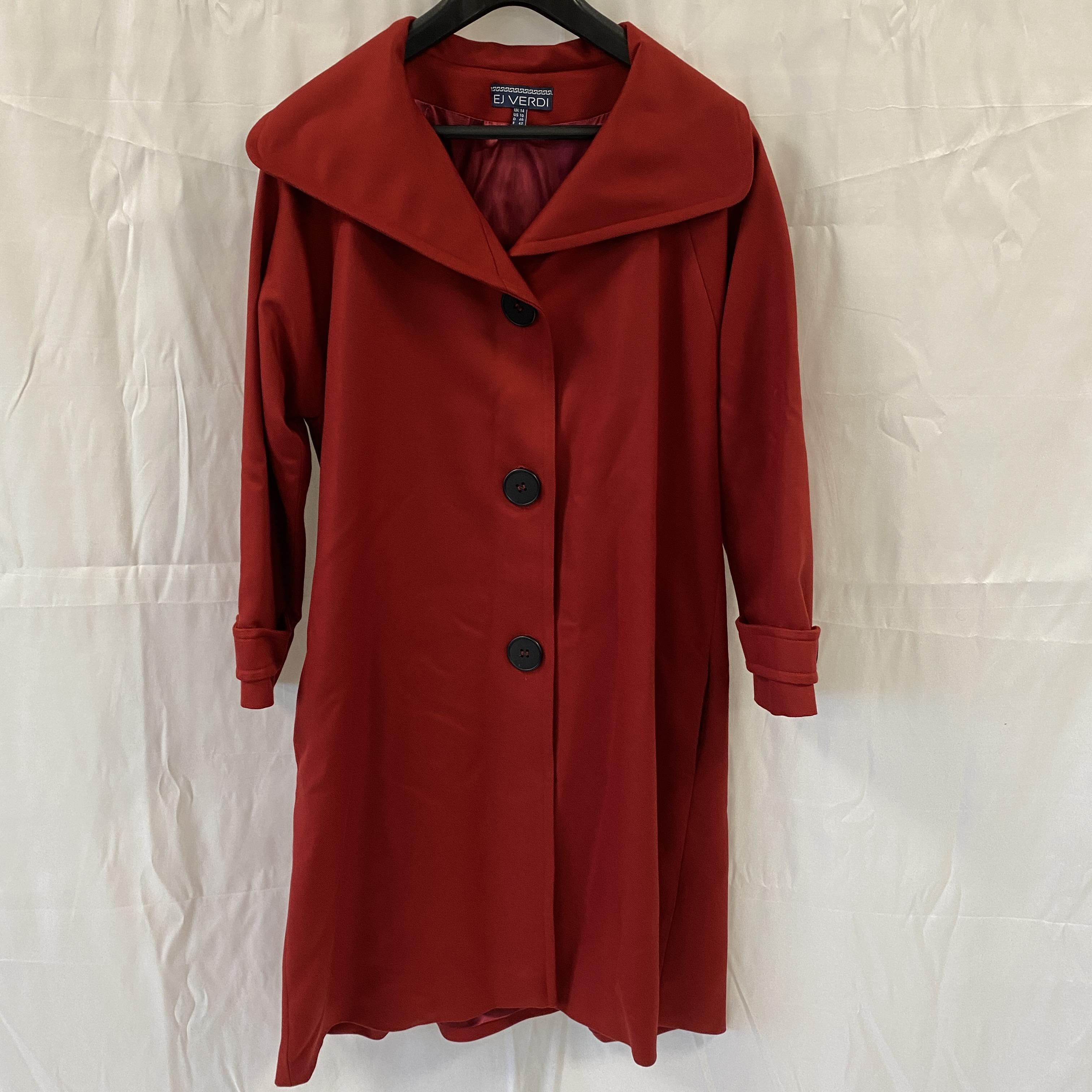 EJ Verdi Red Trench Coat - Size 14