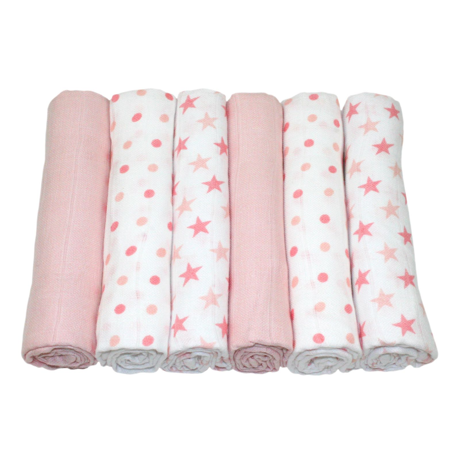 MuslinZ - 6 pack muslin squares - Pink Star combo