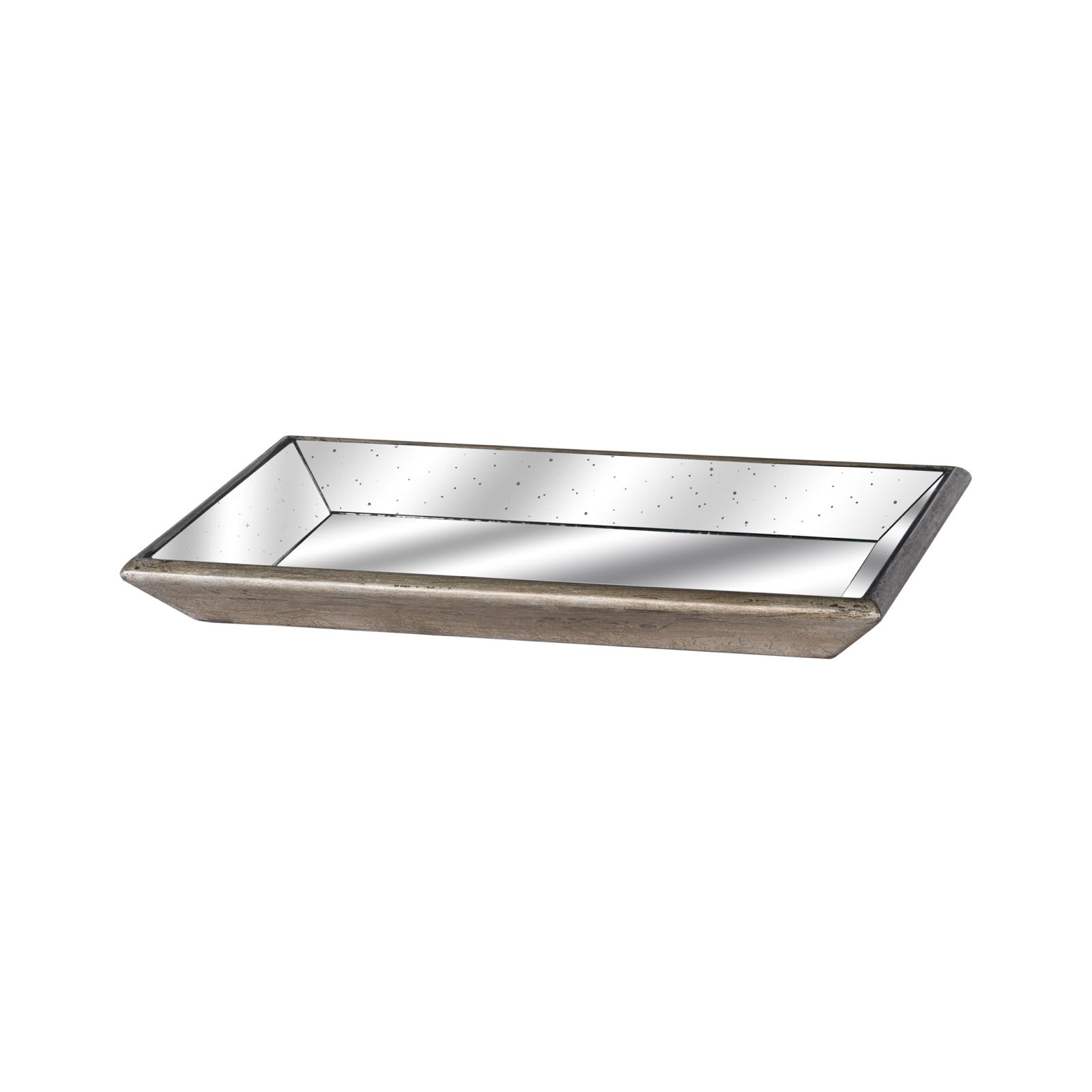 Distressed mirrored tray with wooden detail 49cm x 5cm x 32cm