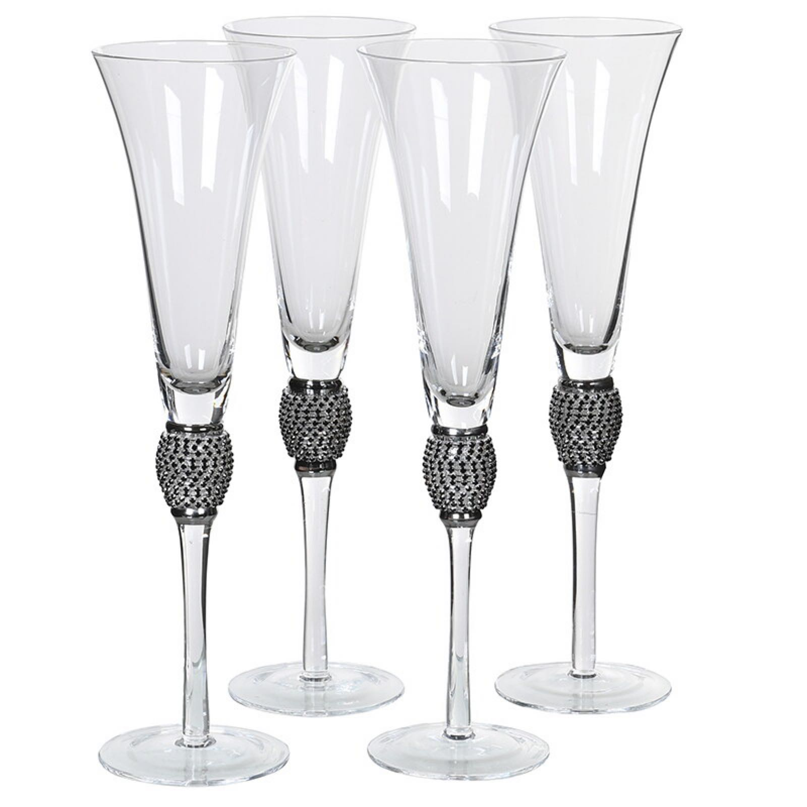 Pair of Champagne flutes with silver edging and crystals