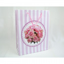 Gift bag roses + stripes, 23x18x8cm, medium