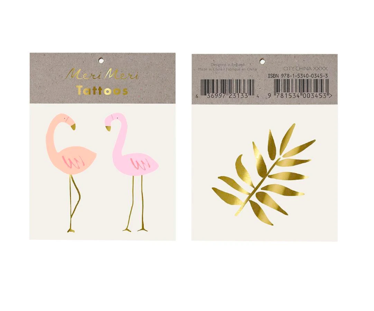 Meri Meri, siirtotatuointi, flamingot ja lehti