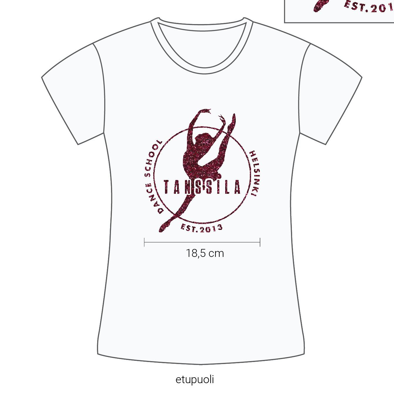 Tanssila, lasten valkoinen t-paita, pinkki glitter painatus