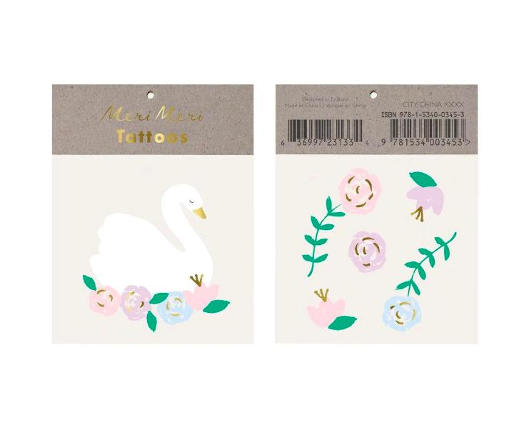 Meri Meri, siirtotatuointi, joutsen ja kukat