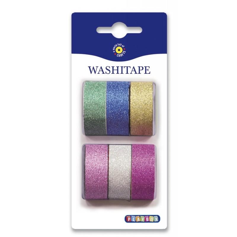 Washiteippi, 6 väriä glitter