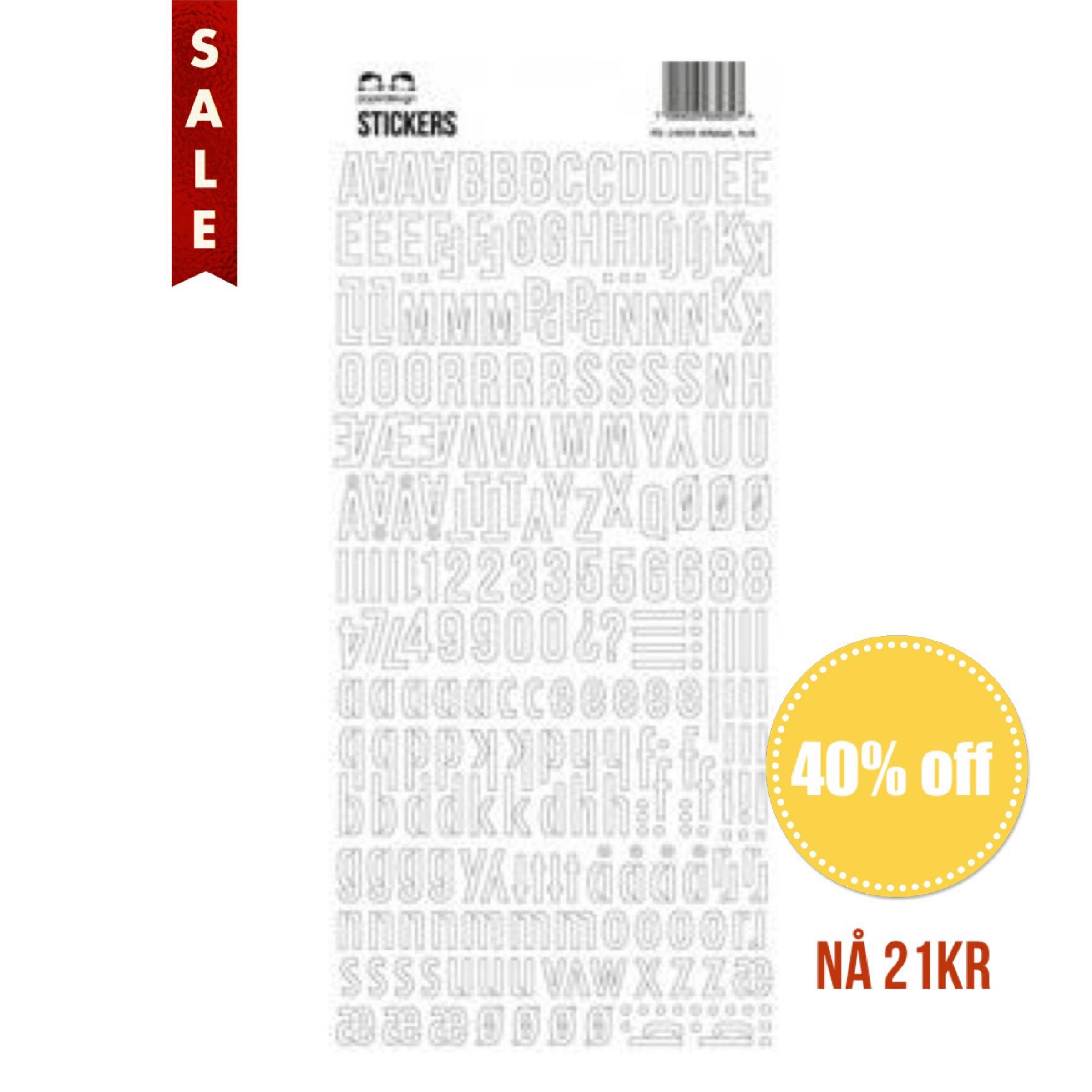 Papirdesign Alphabet Stickers / Klistremerker Alfabet - Stor Hvit / Large White