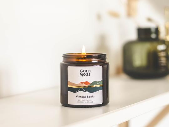 Gold Moss Candle: Vintage Books