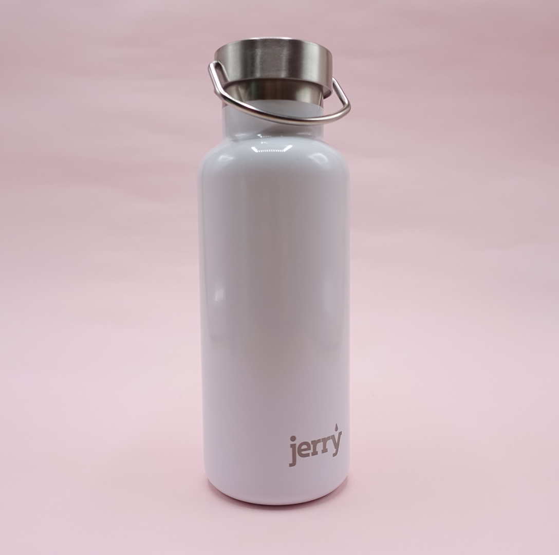 Jerry Bottle: 500ml Steel Water Bottle - White
