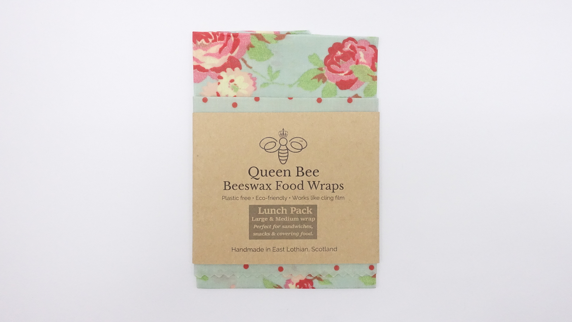 Queen Bee Beeswax Wraps Rose and Polka Dot