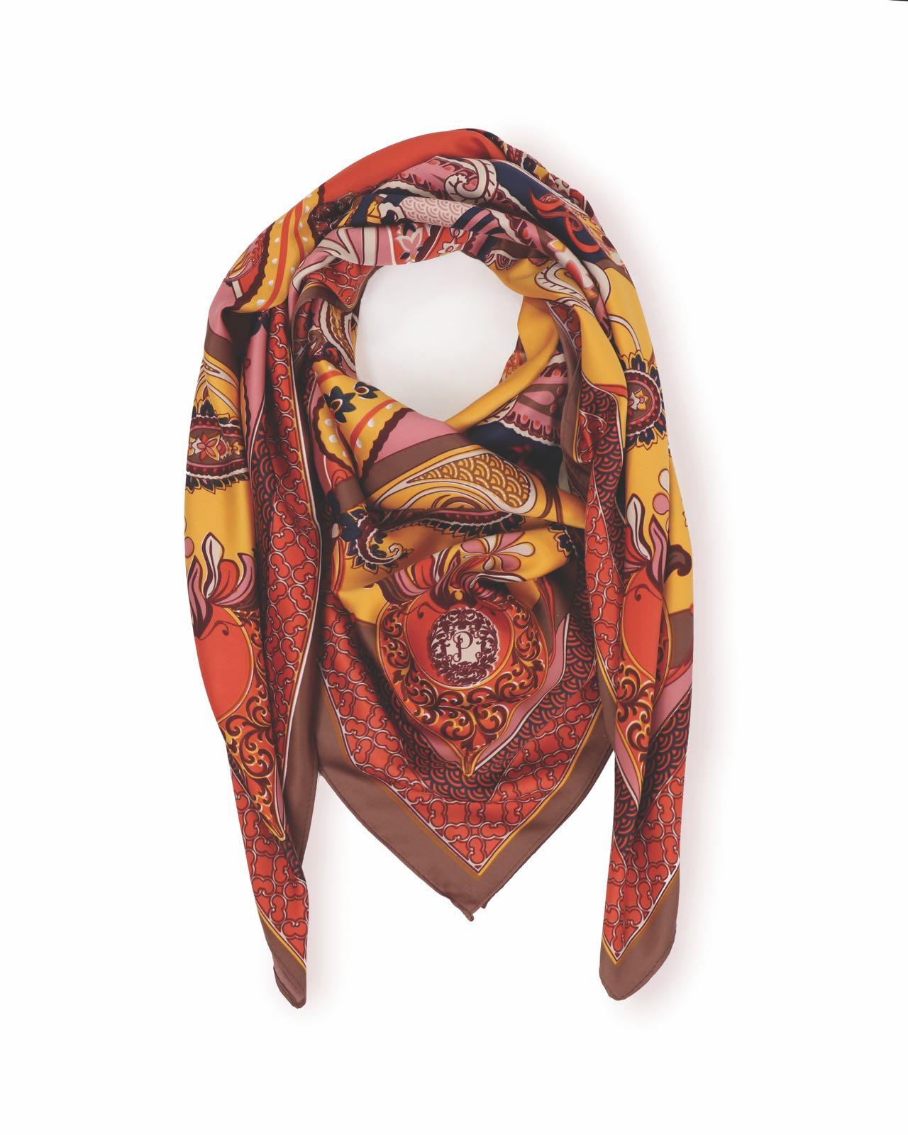 Powder Paisley print satin square scarf