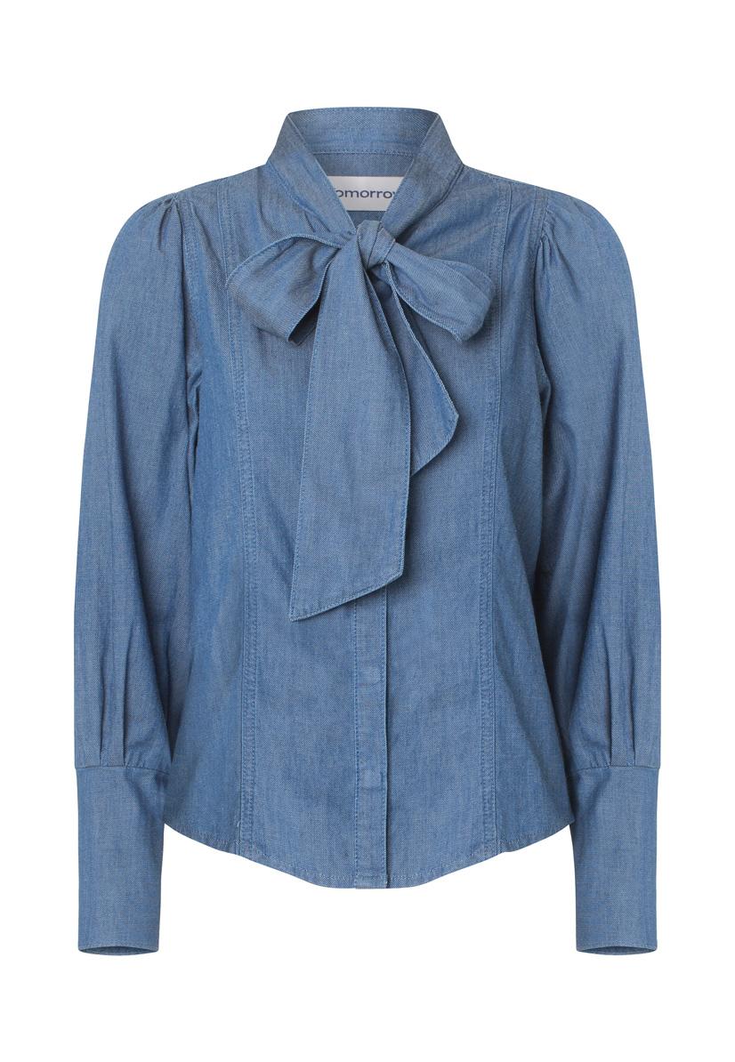 Hepburn Bow Denim Shirt