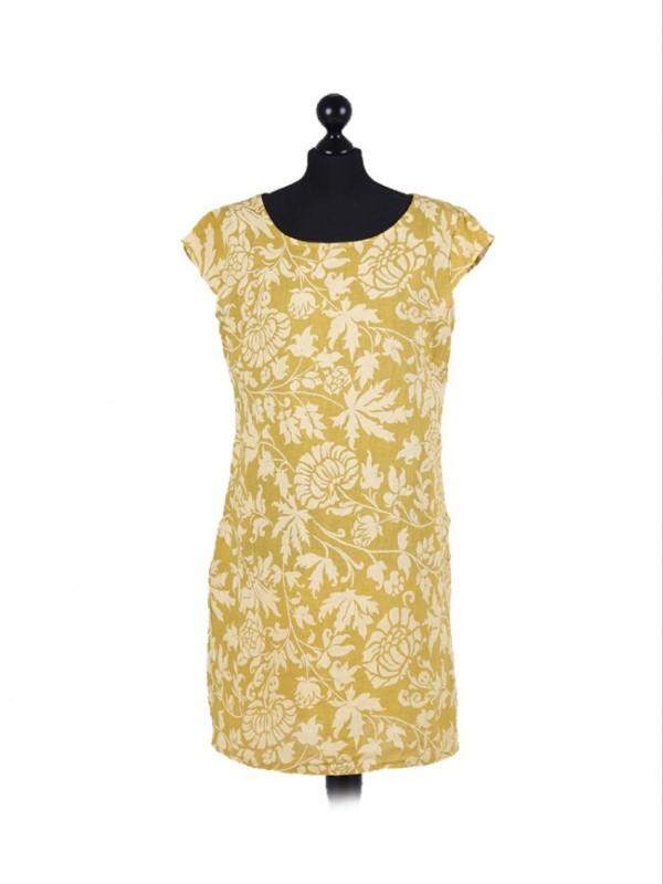Italian Floral Contrast Cap Sleeve Dress - Mustard