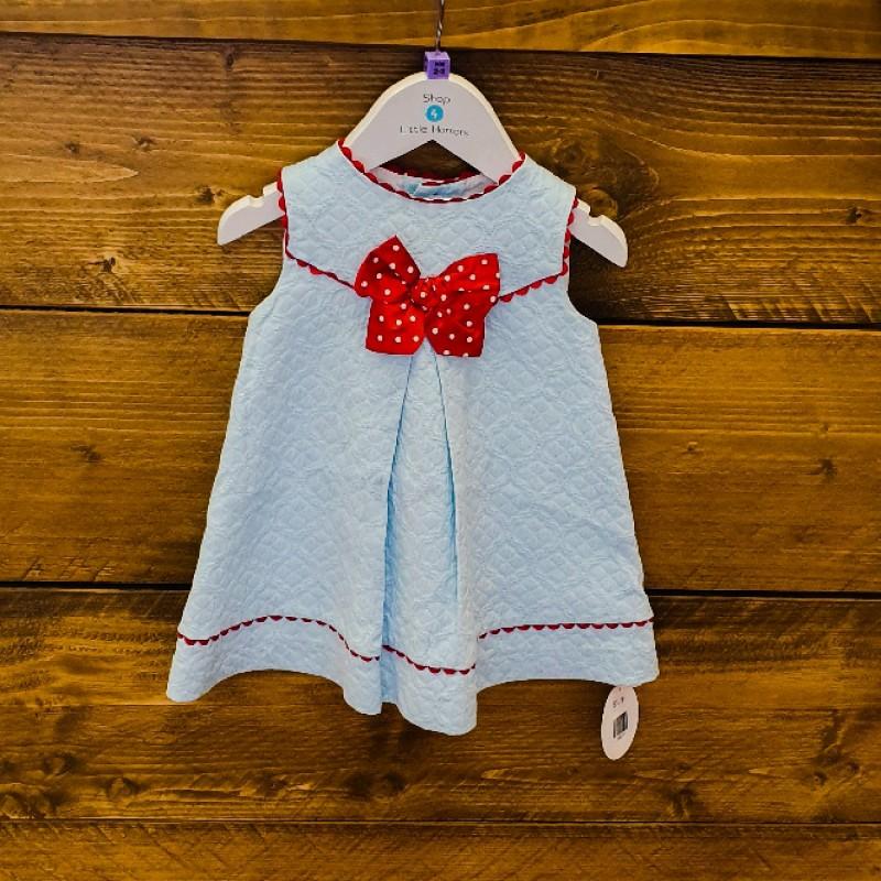 DOLCE PETIT DRESS BLUE/RED WHITE SPOT RIBBON 2YR