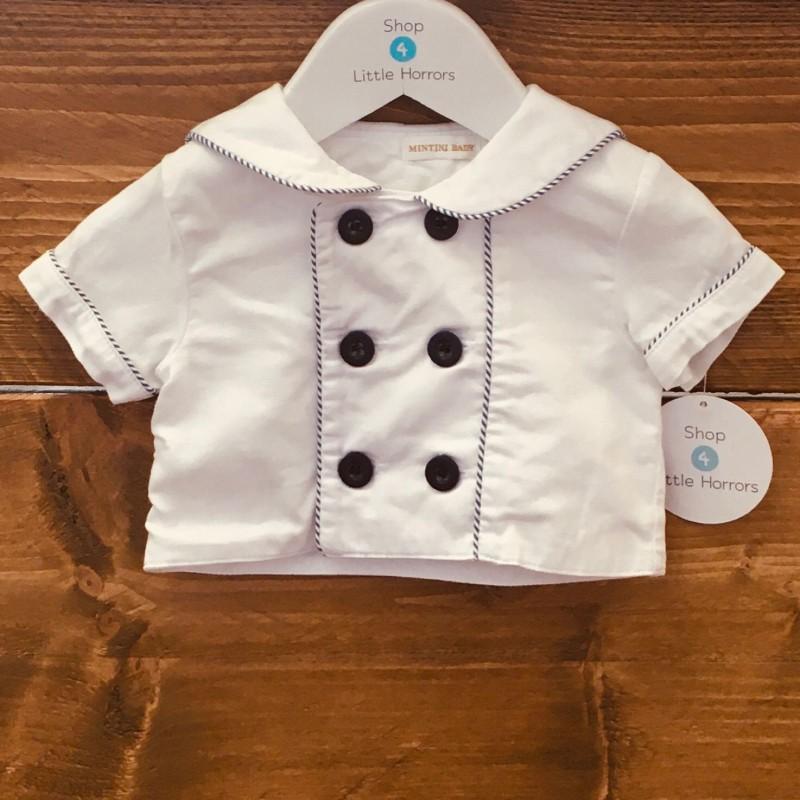 MINTINI BABY JACKET WHITE/BLUE BUTTON 0-3M