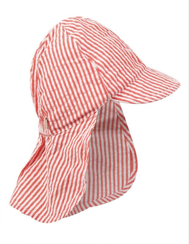 Frugi Seersucker Legionnaires Hat Koi Red Stripe