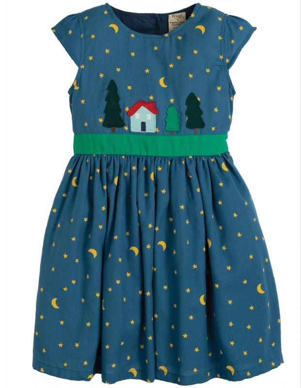 Frugi Sparkle & Shine Dress Moonlight Christmas Town