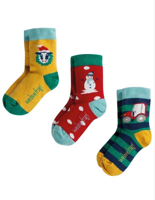 Frugi Rock my Socks Festive Friends 3 Pack