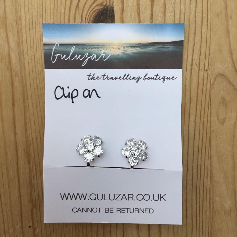 Clip On Crystal Flower Earrings - Silver