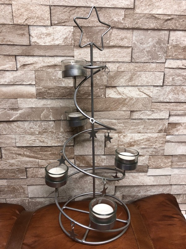 Metal Christmas tree tealight stand