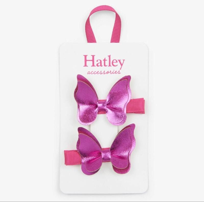 Hatley Fuschia Bowterflies Hair Clips