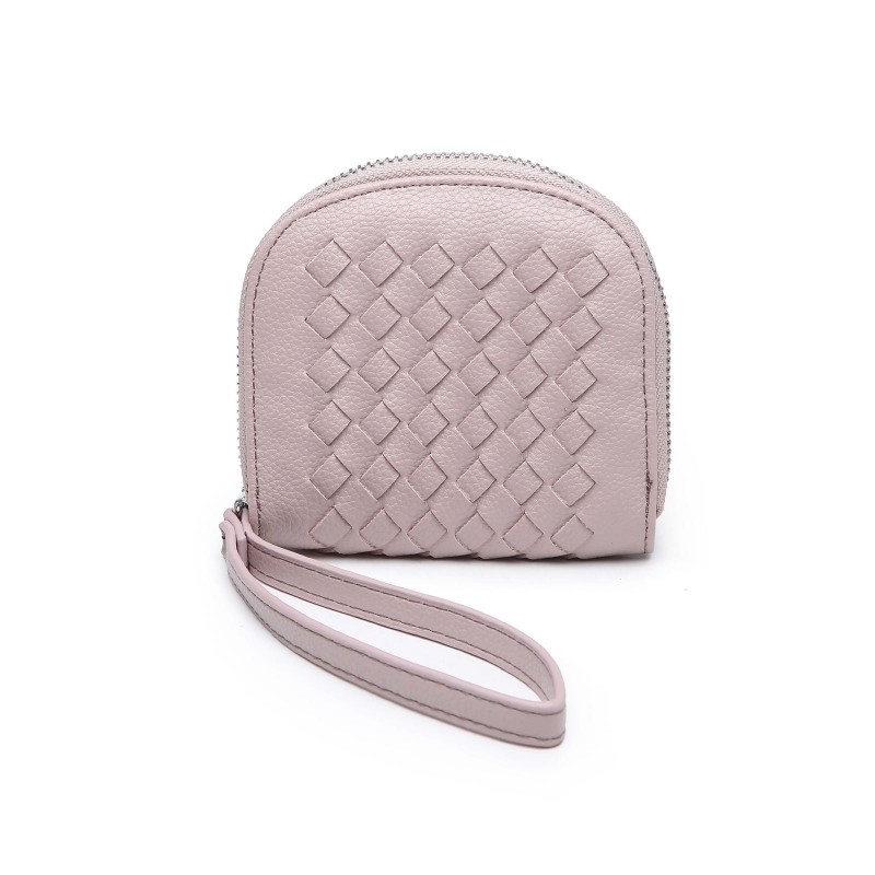 Basket Weave Coin Purse - Blush Pink