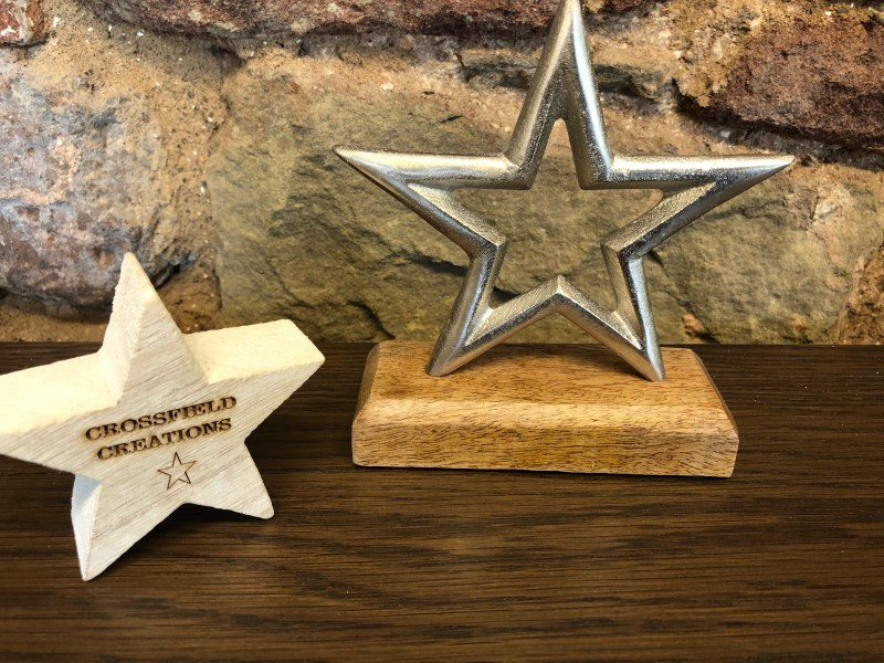 Metal Star on Wooden Base