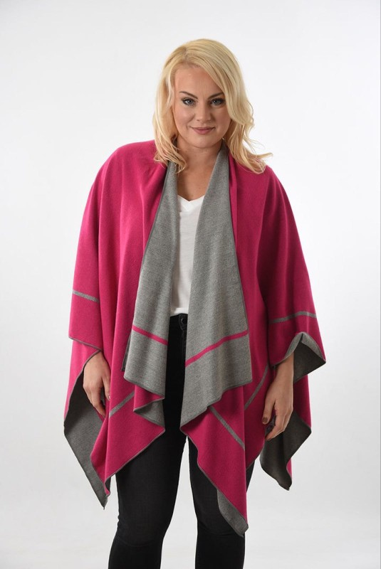 Reversible 2 Tone Cape with Stripe Edge - Grey/Fuchsia