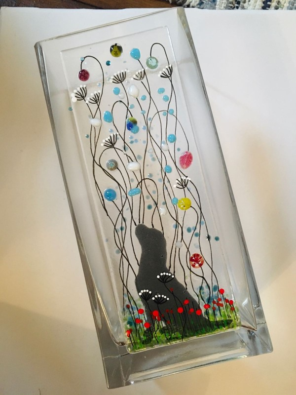 Fused glass meadow flower dog vase 22cm