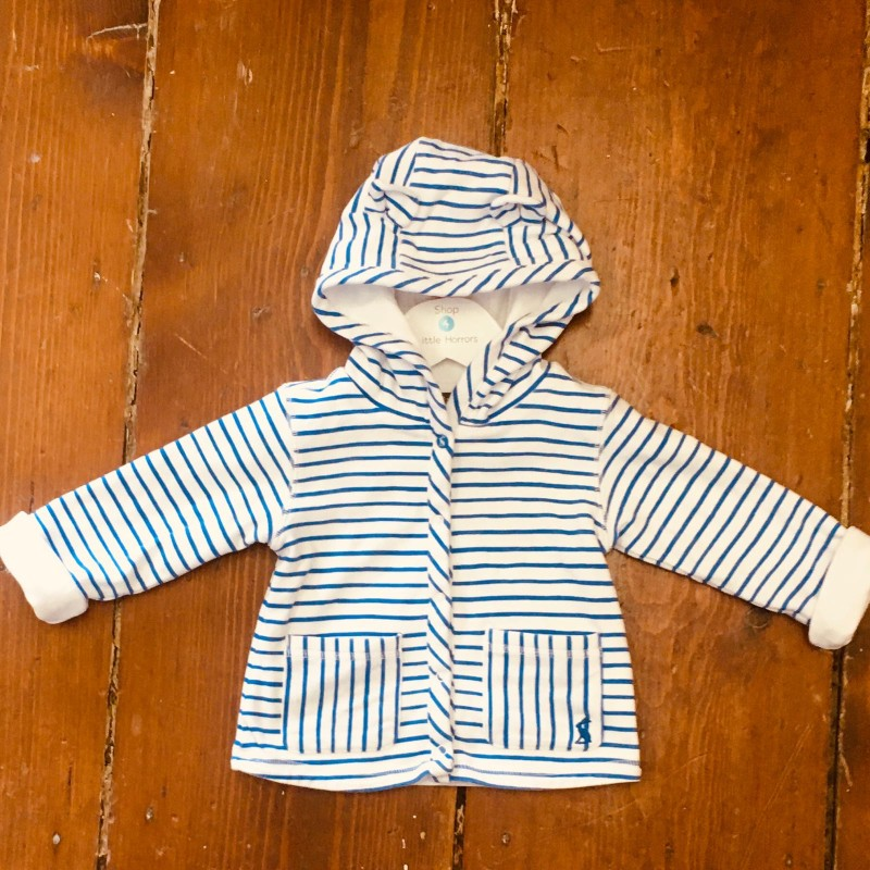JOULES HOODED BLUE/WHITE JACKET 9-12M