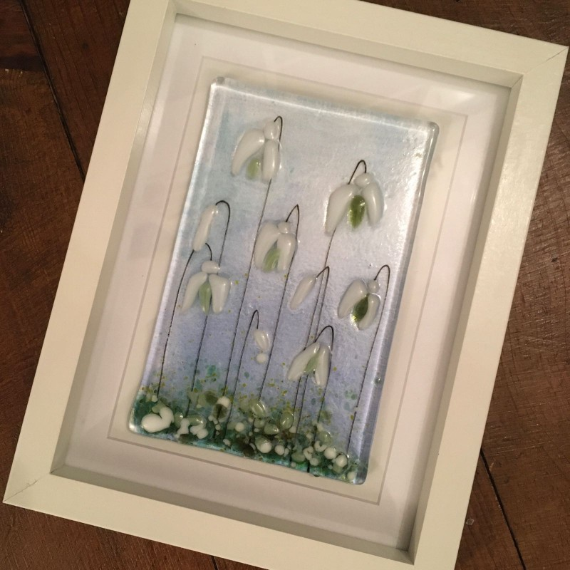 Fused glass snowdrop frame 17.5cm x. 22.5