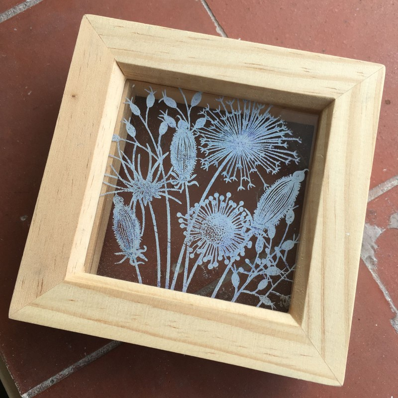 Meadow flower screen printed open backed frame 12x12cm