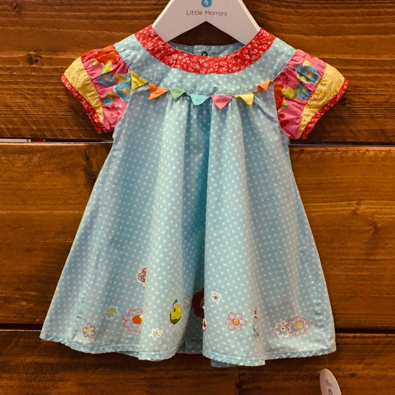 CATIMINI DRESS BLUE SPOTS/ANIMALS 6M