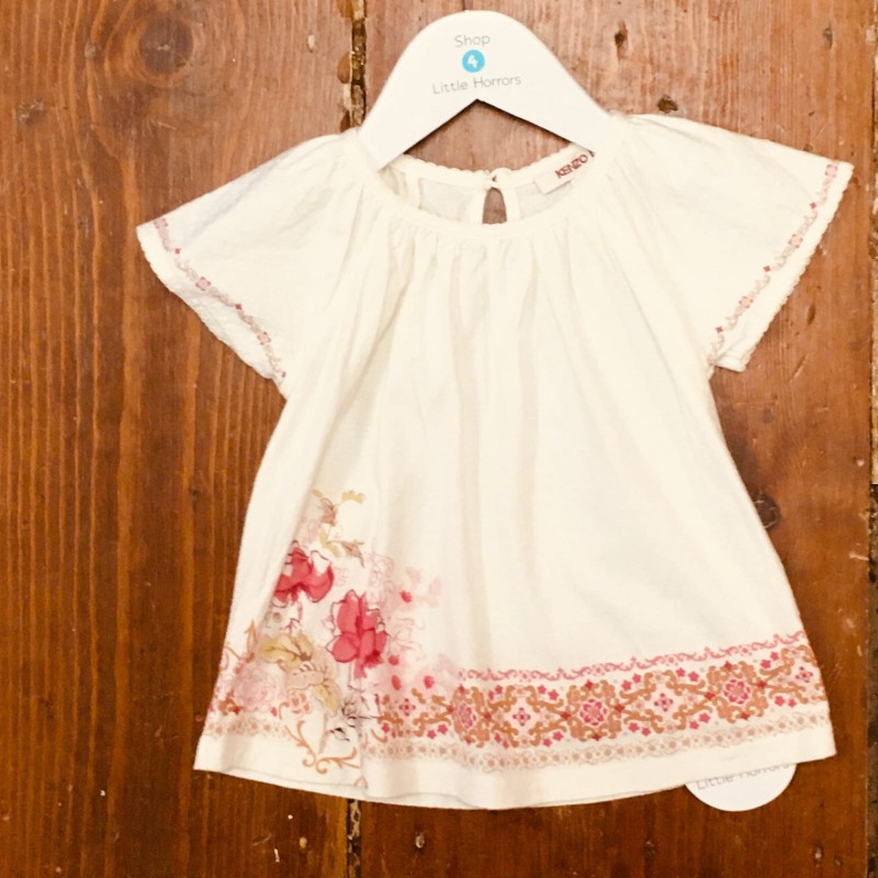 KENZO KIDS TOP CREAM WITH FLOWERS AT BOTTOM 18M
