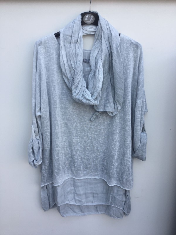 Layered Tunic Top with Scarf