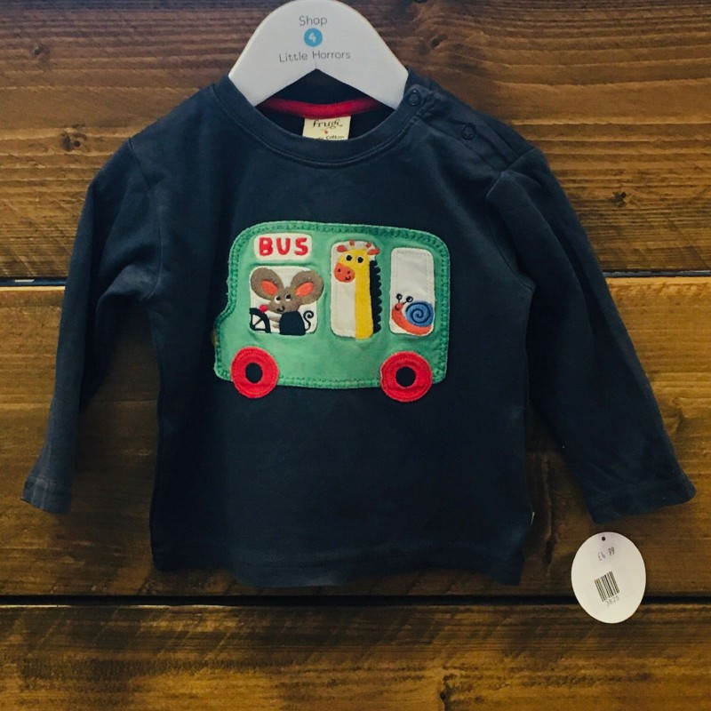 FRUGI LONG SLEEVED NAVY TOP WITH BUS/ANIMALS 6-12M