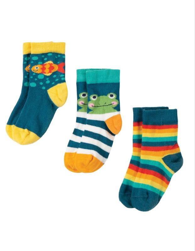 Frugi Little Socks Frog Multipack